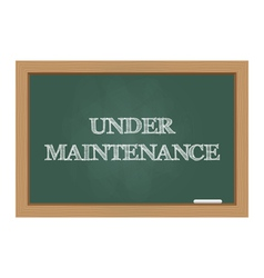 Under maintenance message on chalkboard vector image