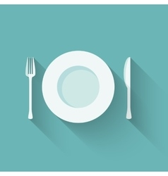 Plates and cutlery with long shadows vector