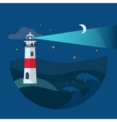 Lighthouse in night sea flat vector