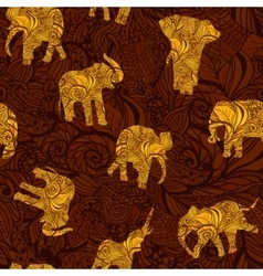Seamless texture with elephants in indian style vector