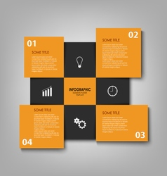 Info graphic with orange and black squares vector