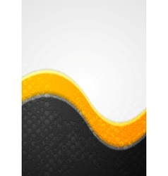 Abstract black and orange grunge waves background vector