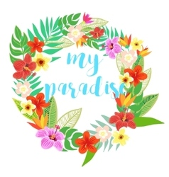 Beautiful floral jungle frame wreath vector