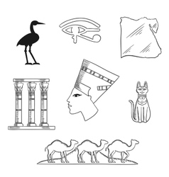 Ancient egypt travel and culture icons vector