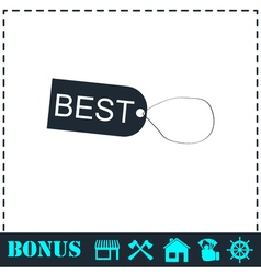 Best tag icon flat vector