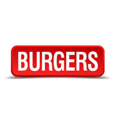 burgers red three-dimensional square button vector image