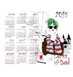 Calendar with fashion girl vector