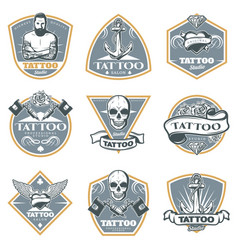 Colored tattoo studio labels set vector