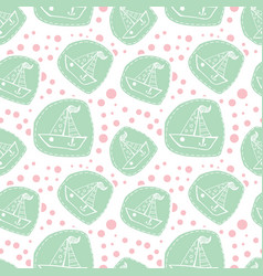 Cute boat in patchwork style pattern vector
