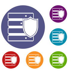 Database with shield icons set vector