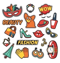 Fashion girls badges patches stickers - clothes vector