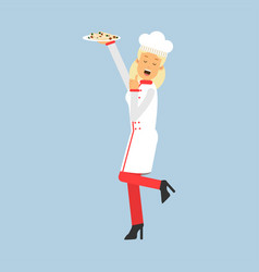 Female chef cook character in uniform holding vector