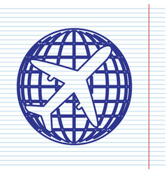 Globe and plane travel sign navy line vector