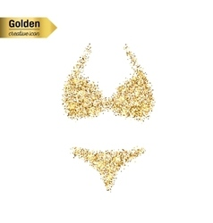 Gold glitter icon of swimsuit isolated on vector image vector image