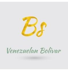 Golden symbol venezuelan bolivar vector