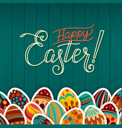 happy easter greeting card dark green wooden vector image
