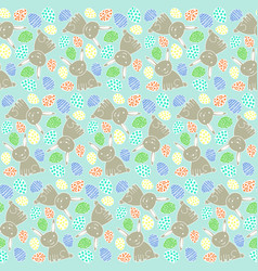 happy easter pattern with rabbits and eggs vector image