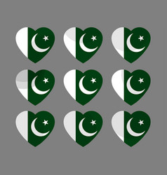 hearts with the pakistan flag i love vector image