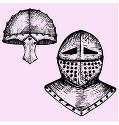 iron helmet and medieval knight vector image vector image