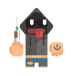 Junkie with hoodie and shades holding syringe vector