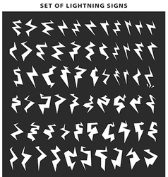 Lightning silhouette isolated Set bolt icon vector image