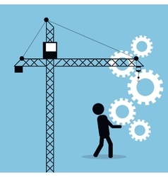man carrying gears crane business concept vector image