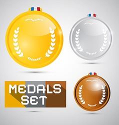 Medals set - gold silver bronze first second third vector