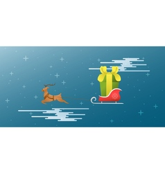 New Year Xmas The deer and sleigh fly across the vector image