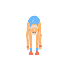 Old bearded man doing toe touch stretching vector