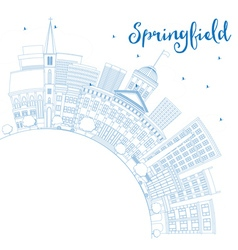 Outline Springfield Skyline with Blue Buildings vector image vector image