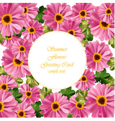 Pink floral round card delicate summer vector