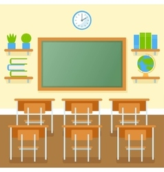 School classroom with chalkboard flat vector