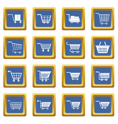 Shopping cart icons set blue vector