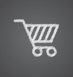 Shopping cart sketch logo doodle icon vector