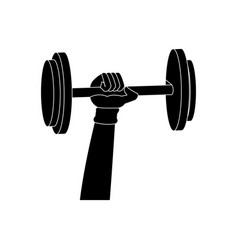 silhouette hand holding dumbbell weight fitness vector image