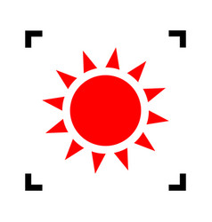 Sun sign red icon inside vector