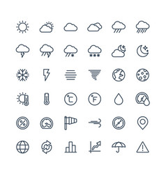 Thin line icons set with weather and meteo vector