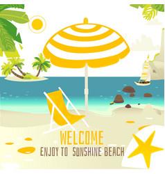 tropic beach banner with rocks yacht sun chair vector image