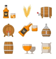 Whisky flat line art icons vector image