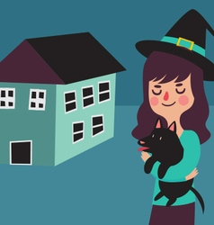 Witch and her dog next to their new home vector