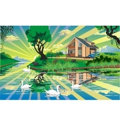 Landscape - country house near the river with vector