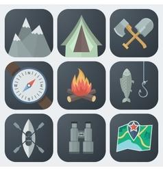 Camping Flat Icons Set vector image