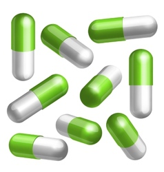 Set of medical capsules in different positions vector