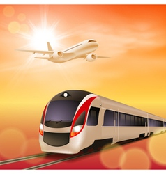High-speed train and airplane in the sky vector