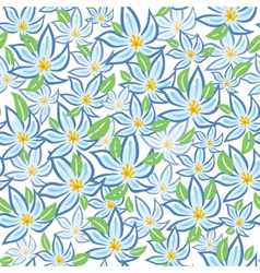 Blue flowers with green leafs vector