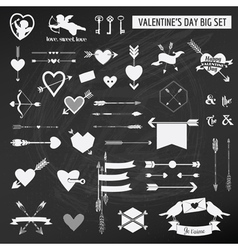 Valentines Day Set - on chalk boarder vector image