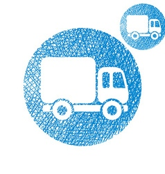 Delivery car small truck simple single color icon vector