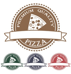 Premium quality pizza label stamp banner design vector