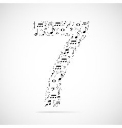 Number seven made from music notes vector