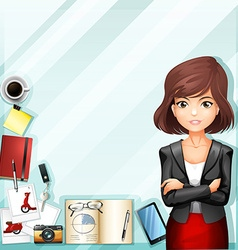 Office worker and stationaries vector